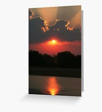 Sunset over the Luangwa River, South Luangwa National Park, Zambia Africa Greeting Card