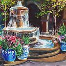Landscape With Fountain Garden Courtyard Painting  by Irina Sztukowski
