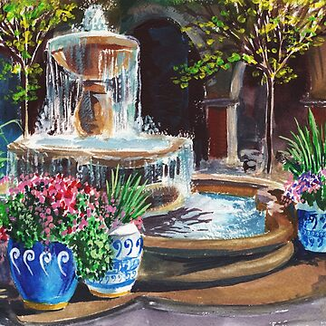 Landscape With Fountain Garden Courtyard Painting  by IrinaSztukowski