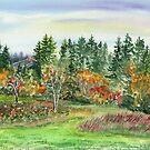 Impressionistic Fall Landscape in Watercolor  by Irina Sztukowski