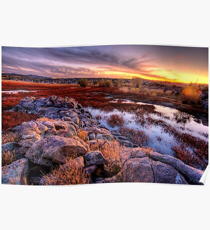 Willow Lake Rock Wall Sunset 1 Poster