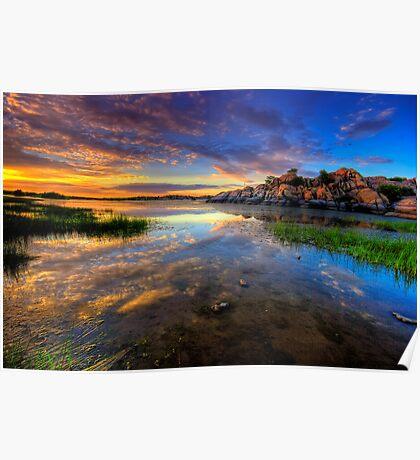 Willow Lake Spring Sunset Poster