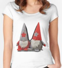 3D Christmas Gnomes Women's Fitted Scoop T-Shirt