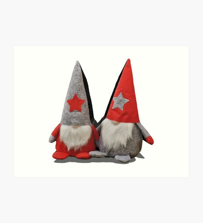 3D Christmas Gnomes Art Print