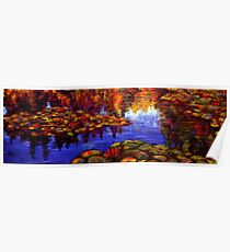 Red Lilies on Monet's Pond Poster