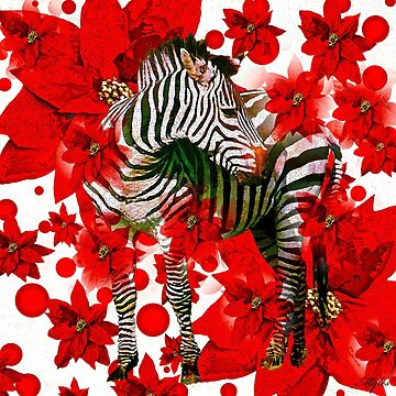 Zebra AND RED FLOWERS by Overthetopsm
