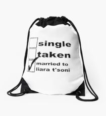 Single, Taken, Married to Liara T'Soni Drawstring Bag