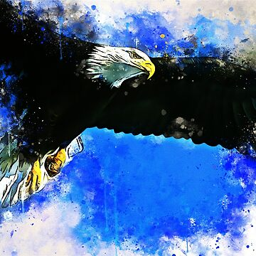 Flying Eagle Watercolor Splash by CryptoTextile