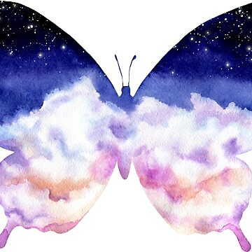 Watercolor Sky and Butterfly by Cordata