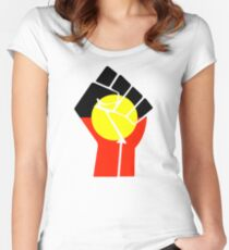Raised Fist - Aboriginal Flag Women's Fitted Scoop T-Shirt