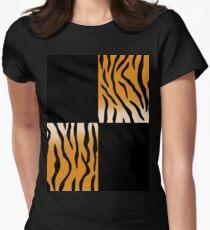 Tiger Print Tailliertes T-Shirt für Frauen