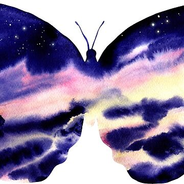 Watercolor Clouds and Butterfly by Cordata