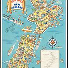 Vintage New Zealand Fun Map Travel Advertisement Art Posters by jnniepce