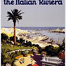 Vintage Genoa Italy Italian Riviera Travel Advertisement Art Posters by jnniepce