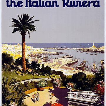 Vintage Genoa Italy Italian Riviera Travel Advertisement Art Posters by jnniepce
