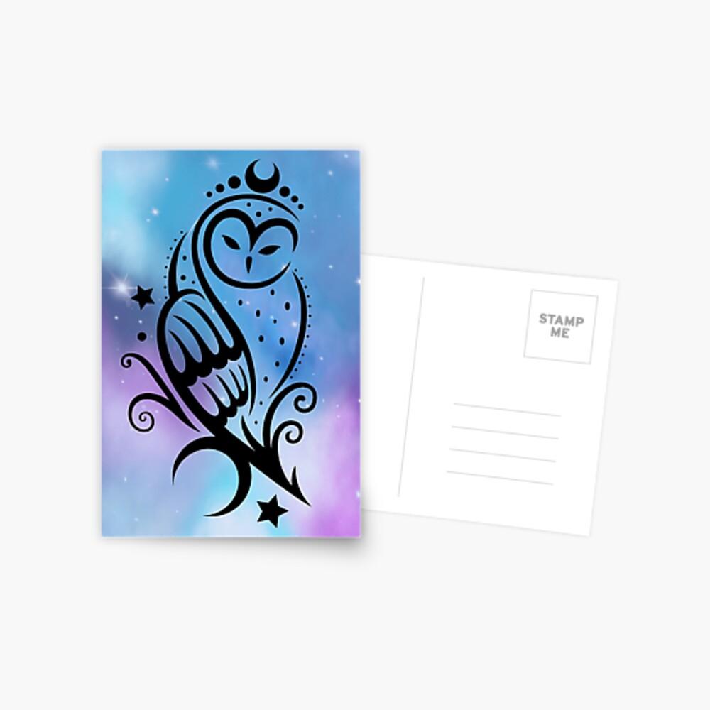 Mond Eule mit Galaxie Aquarell. Postkarte
