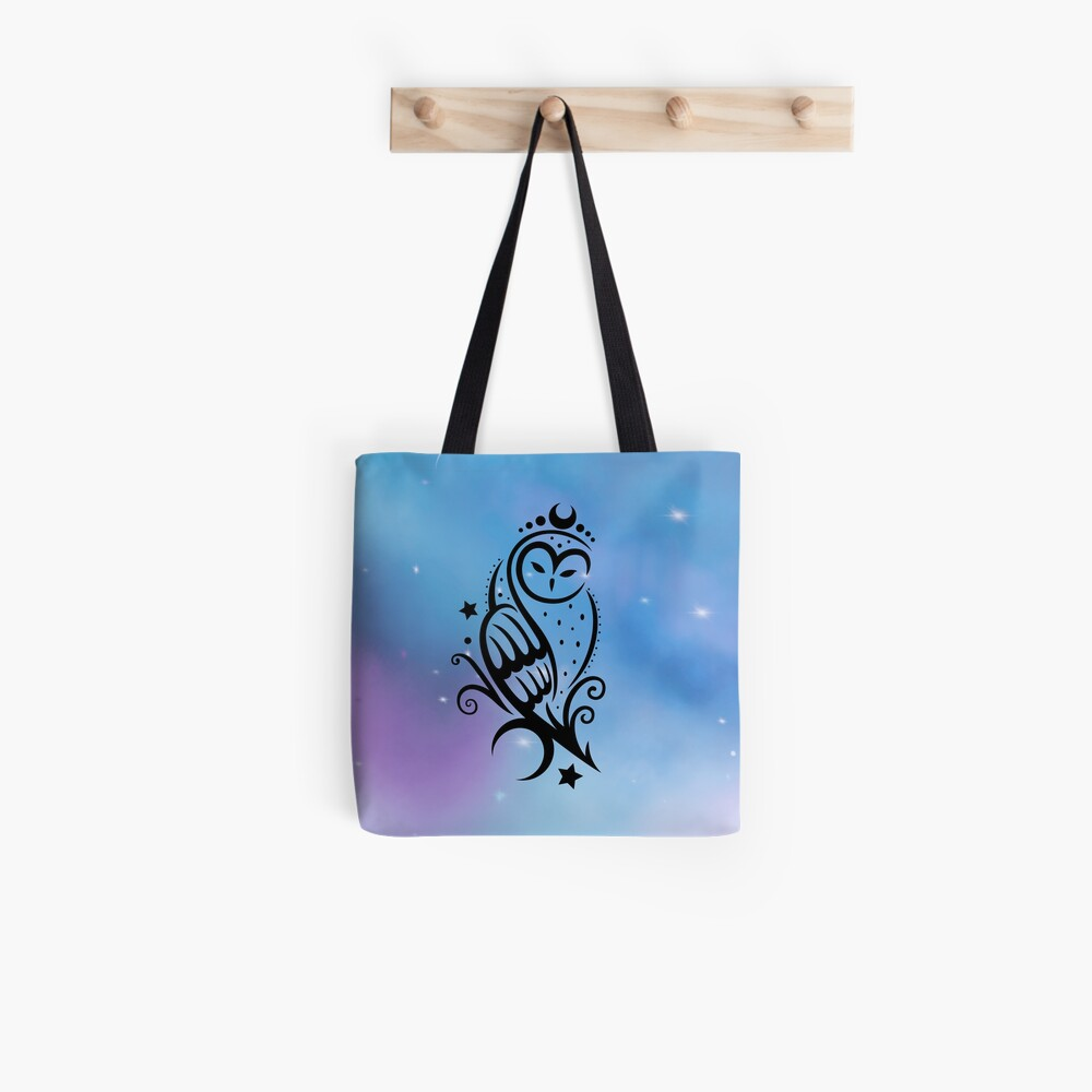 Mond Eule mit Galaxie Aquarell. Tote Bag