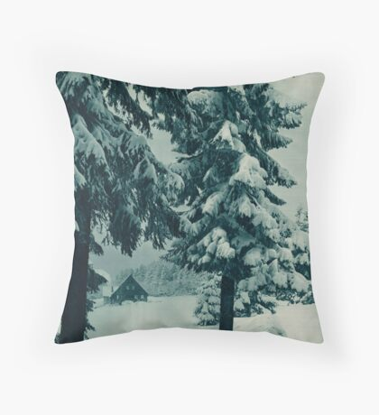 Vintage German Winter Germany Snow Cabin Travel Advertisement Art Posters Throw Pillow
