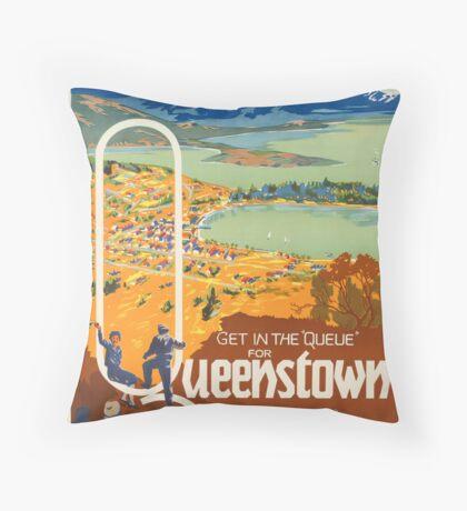 Vintage Queenstown New Zealand Travel Advertisement Art Posters Throw Pillow