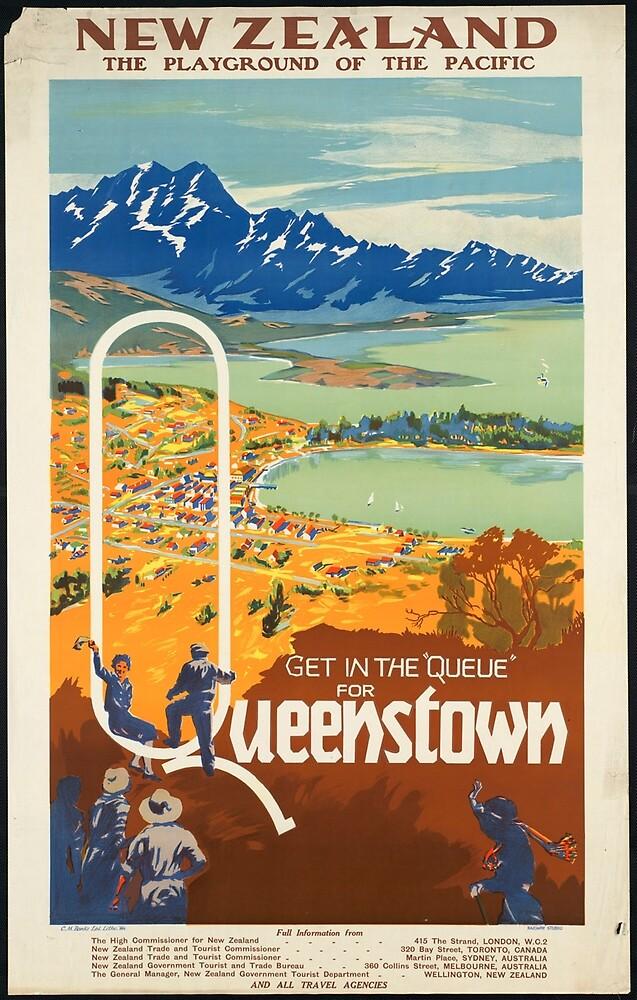 Vintage Queenstown New Zealand Travel Advertisement Art Posters by jnniepce