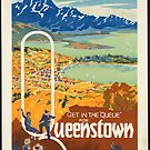 Vintage Queenstown New Zealand Travel Advertisement Art Posters by jnniepce