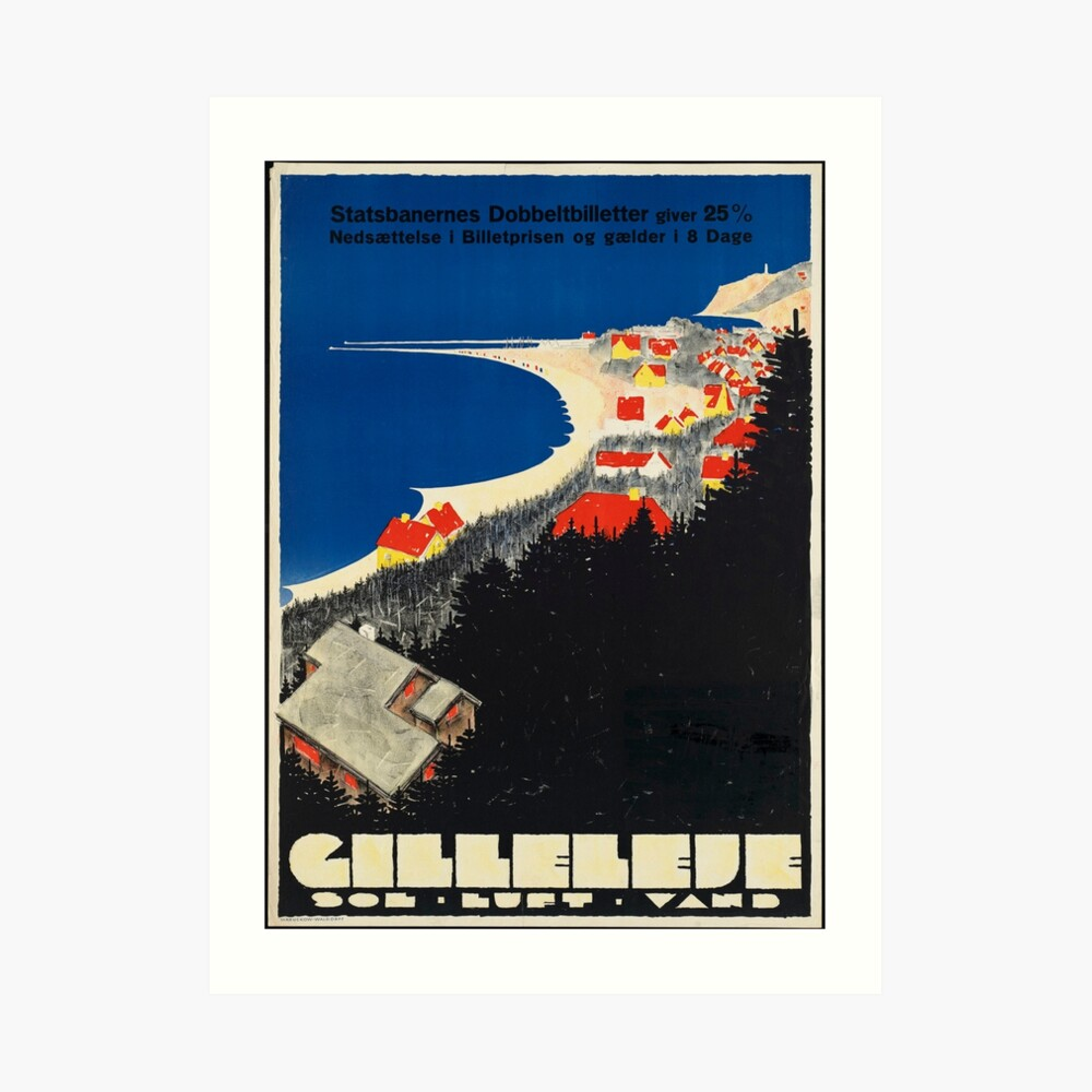 Vintage Gilleleje Denmark Travel Advertisement Art Posters Art Print