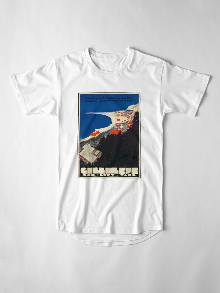Alternate view of Vintage Gilleleje Denmark Travel Advertisement Art Posters Long T-Shirt