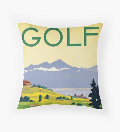 Vintage Lausanne Switzerland Golf Travel Advertisement Art Posters Throw Pillow