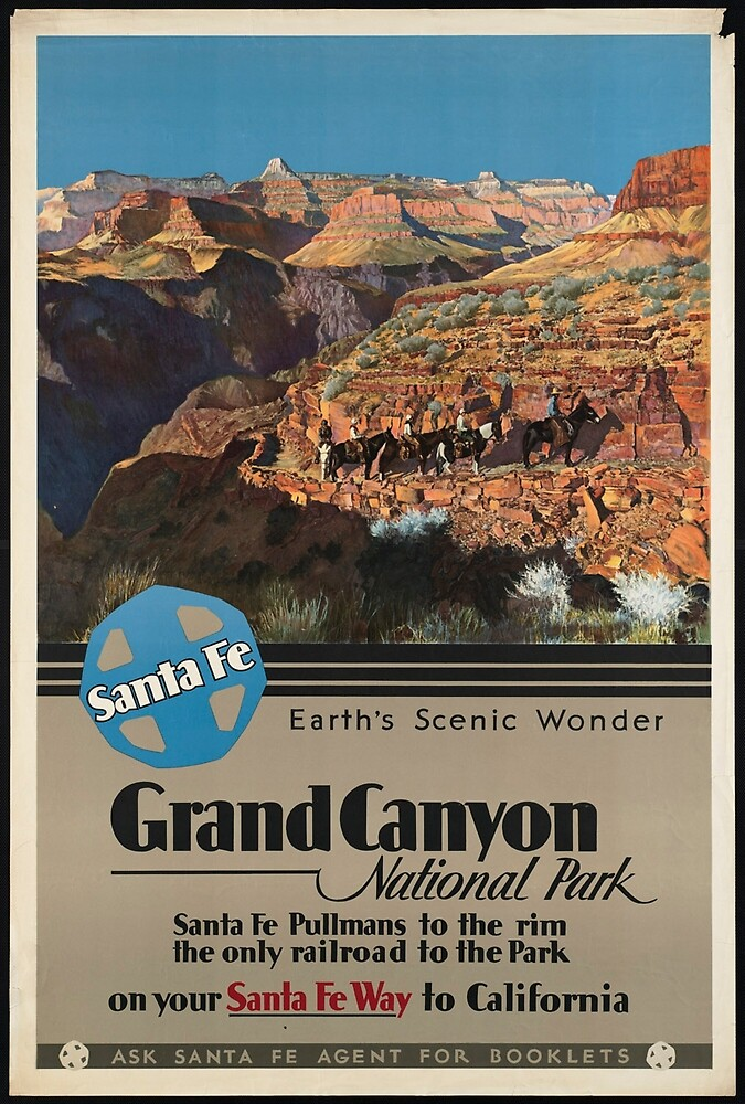 Vintage Grand Canyon National Park Travel Advertisement Art Posters by jnniepce