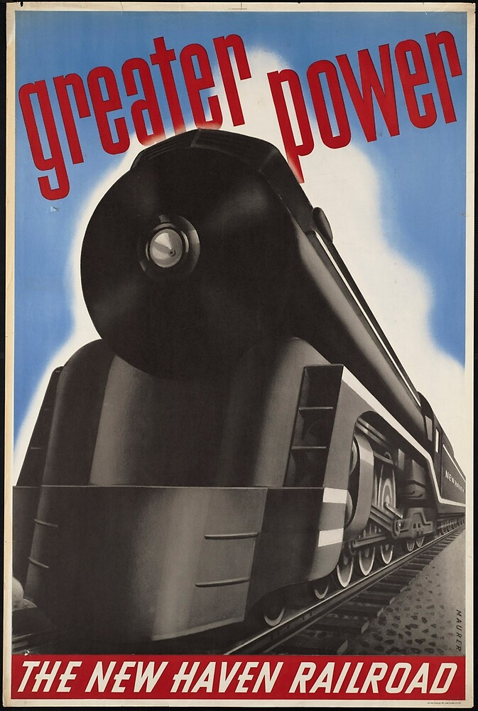 Vintage New Haven Railroad Train Travel Advertisement Art Posters by jnniepce