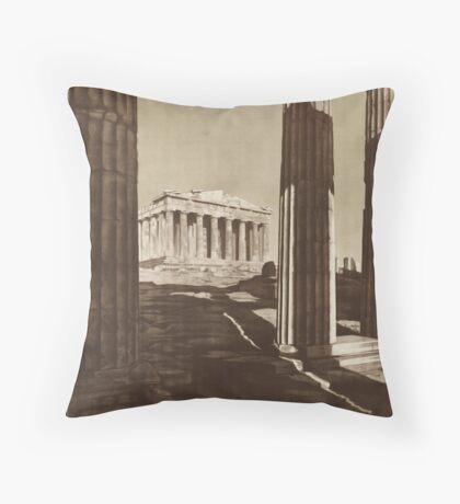 Vintage Greece Greek Travel Advertisement Art Posters Throw Pillow