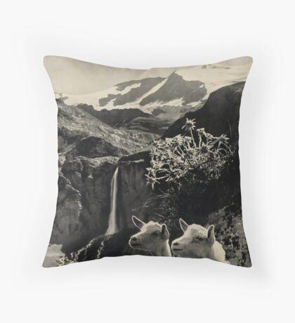 Vintage Gstaad Switzerland Travel Advertisement Art Posters Throw Pillow