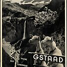 Vintage Gstaad Switzerland Travel Advertisement Art Posters by jnniepce