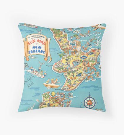 Vintage New Zealand Fun Map Travel Advertisement Art Posters Throw Pillow