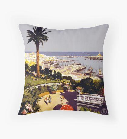 Vintage Genoa Italy Italian Riviera Travel Advertisement Art Posters Throw Pillow