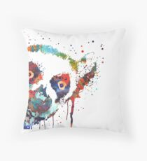 Lemur, watercolor lemur, lemur peeking Throw Pillow
