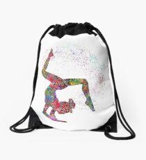 Gymnastics girl, watercolor gymnastics, teen gift Drawstring Bag