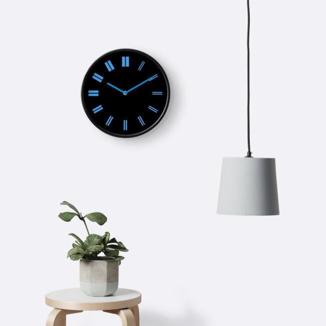 BBC clock in black (and blue)  by unloveablesteve