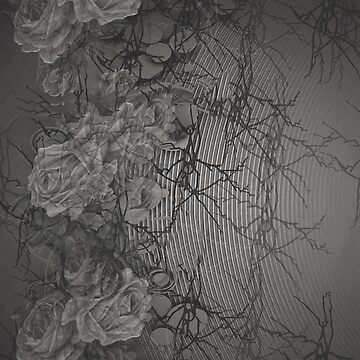 Rose Trellis Abstract in Grey by JMarielle
