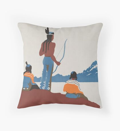 Vintage Native American Indian National Parks Travel Advertisement Art Posters Throw Pillow