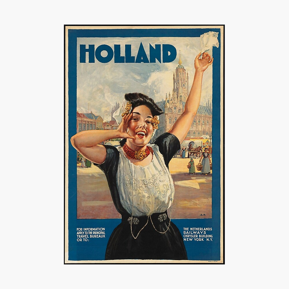 Vintage Holland Travel Advertisement Art Posters Photographic Print
