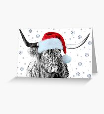 Highland Cow in a Santa Hat Greeting Card
