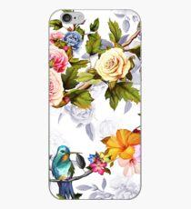 Vinilo o funda para iPhone Colibrí, rosas, peonía con hojas en blanco