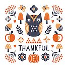 Cute Scandi Style Thanksgiving Owl by daisy-beatrice