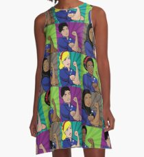 Pop art poster of multicultural Rosie the Riveters wearing a safety pin A-Line Dress