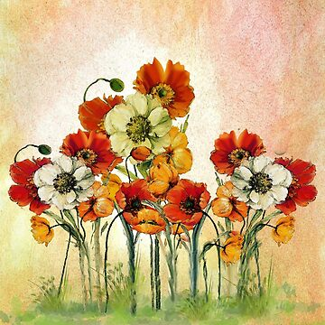 Poppy Field in Watercolor by JMarielle