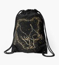 Dog funny playful golden ornament Gold Drawstring Bag