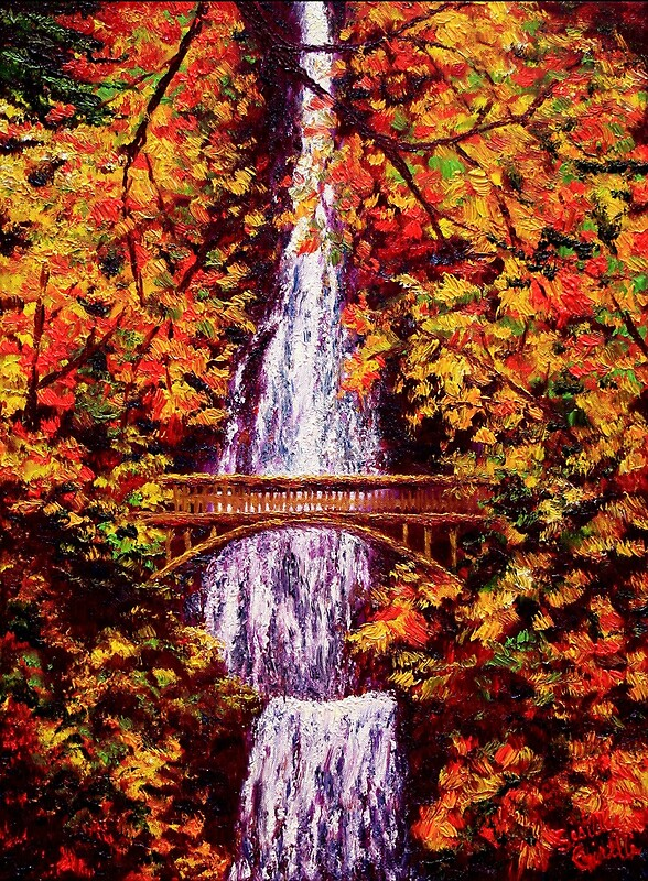 Quot Autumn At Multnomah Falls Quot By Sesillie Redbubble