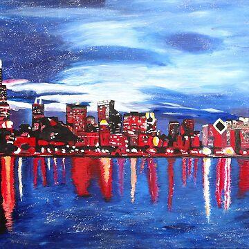 Chicago skyline at night by artshop77