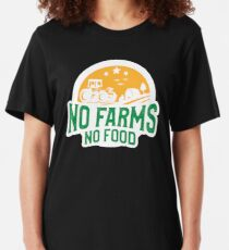 Proud Farmer No Farms No Food Statement Gift Slim Fit T-Shirt